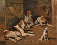 Hounds and a Terrier in a Stable